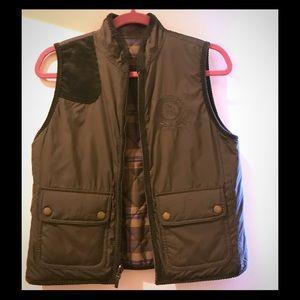 Reversible brown, corduroy and plaid LRL vest